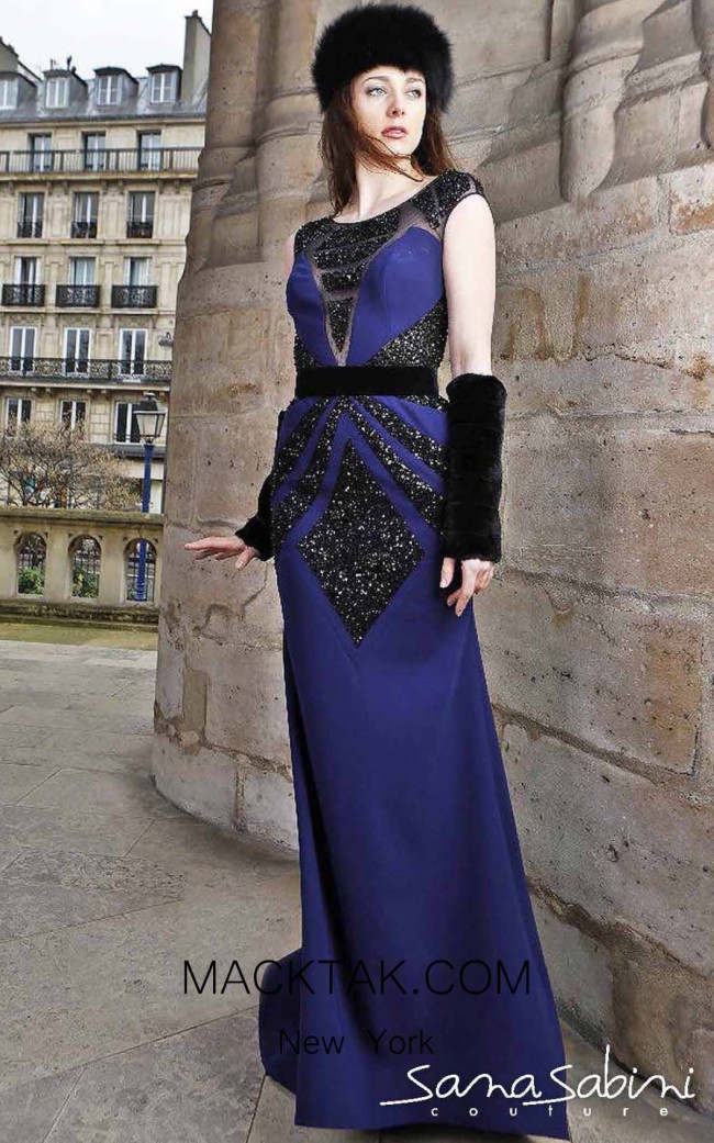 Sana Sabini 9316 Navy Front Evening Dress