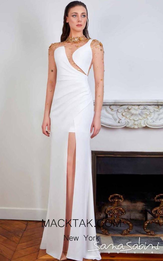 Sana Sabini 9324 Off White Front Evening Dress