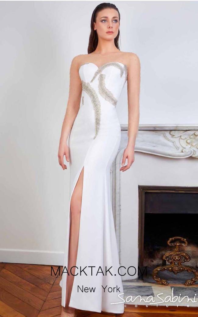 Sana Sabini 9327 Off White Front Evening Dress