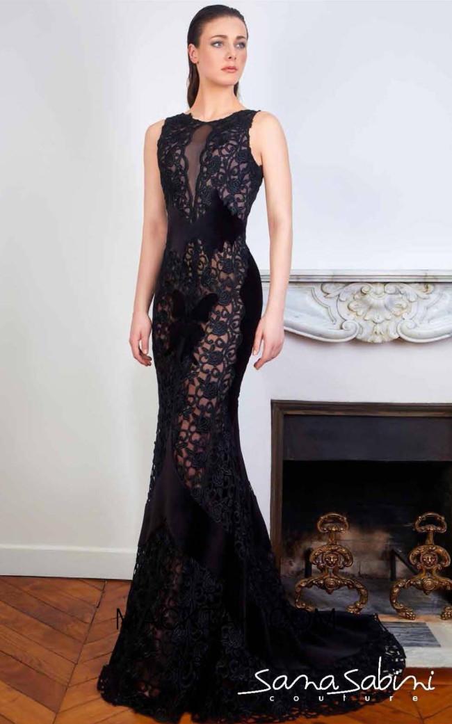 Sana Sabini 9337 Black Front Evening Dress