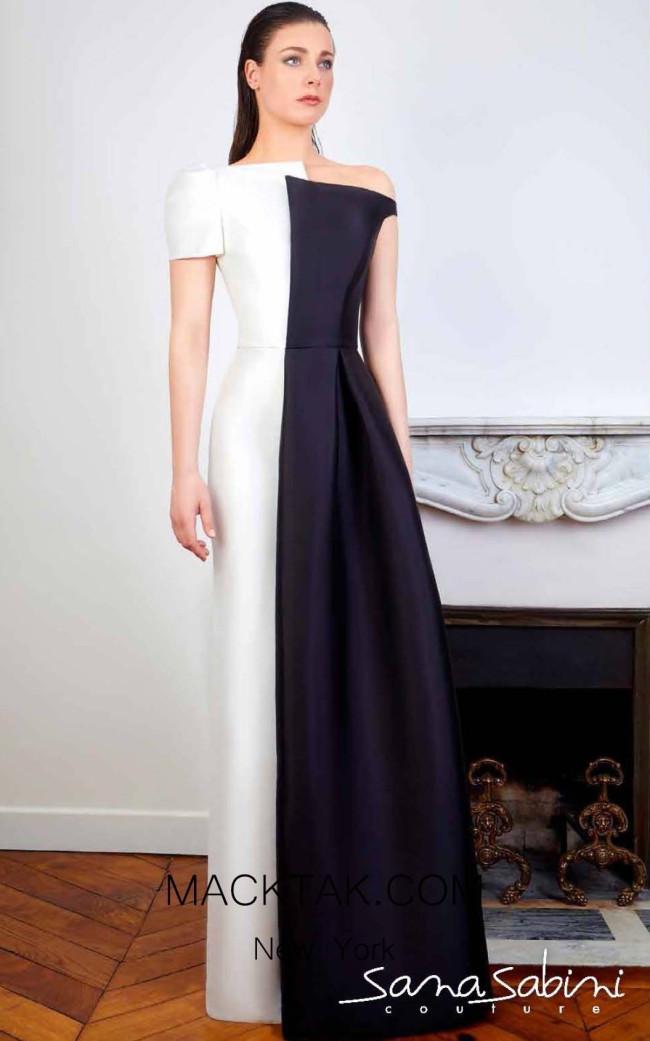 Sana Sabini 9338 Black White Front Evening Dress