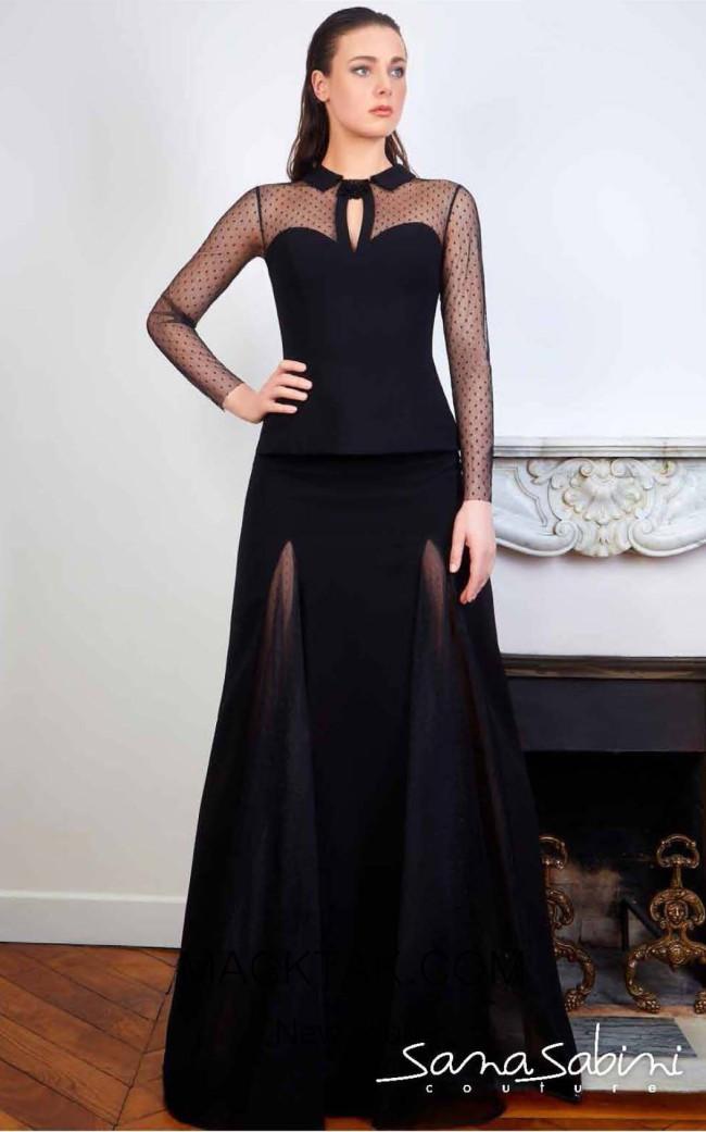 Sana Sabini 9339 Black Front Evening Dress