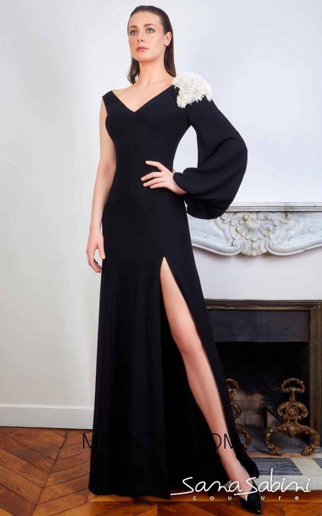 Sana Sabini 9344 Black Front Evening Dress