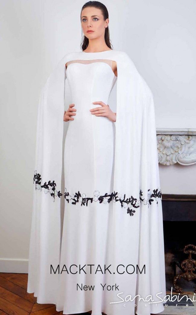 Sana Sabini 9347 Off White Front Evening Dress