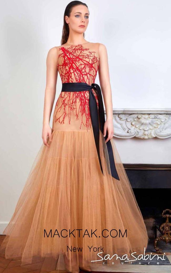 Sana Sabini 9348 Red Nude Front Evening Dress