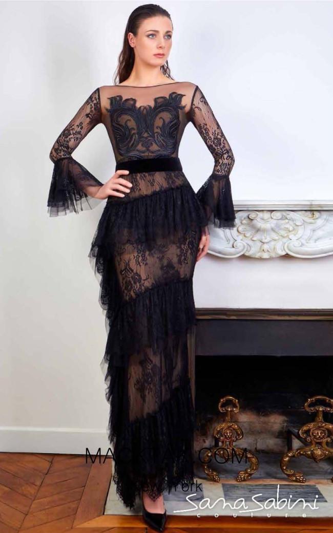 Sana Sabini 9353 Black Nude Front Evening Dress