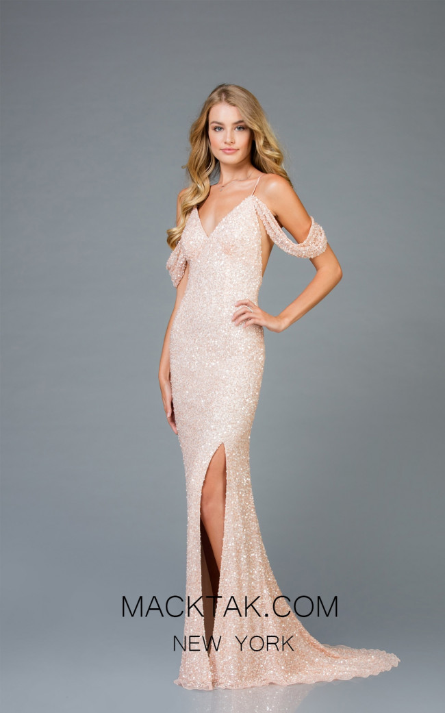 Scala 48979 Blush Front Evening Dress