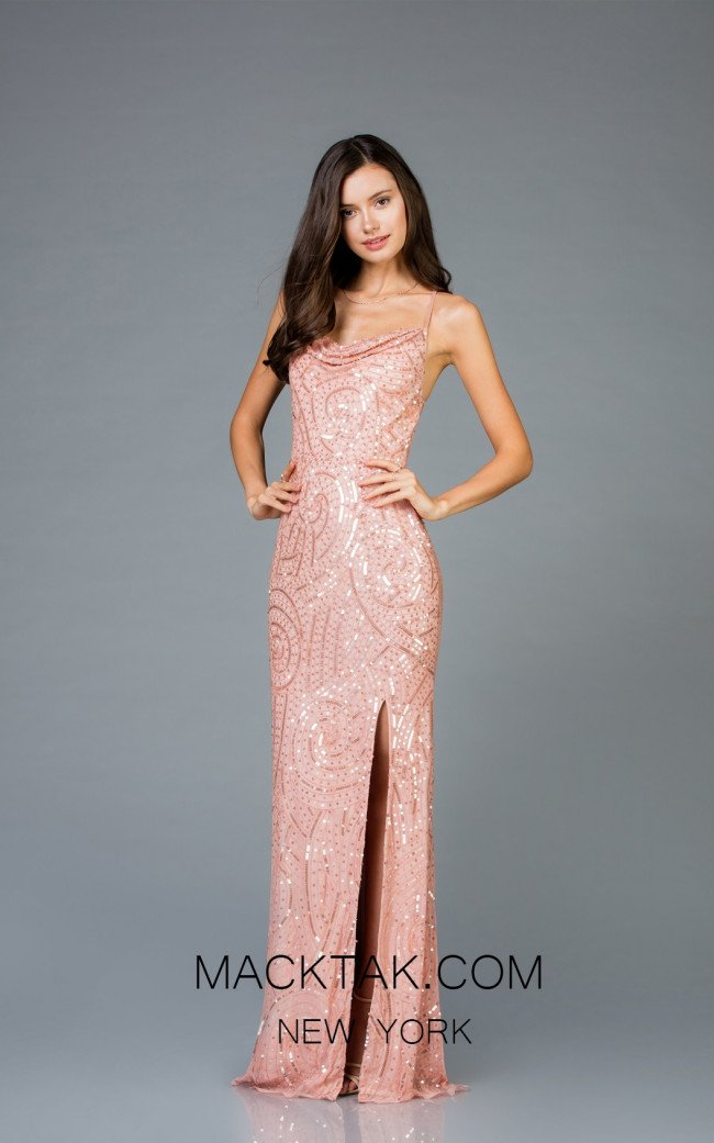 Scala 48980 New Rose Front Evening Dress