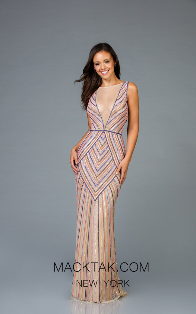 Scala 60003 Multi Front Evening Dress