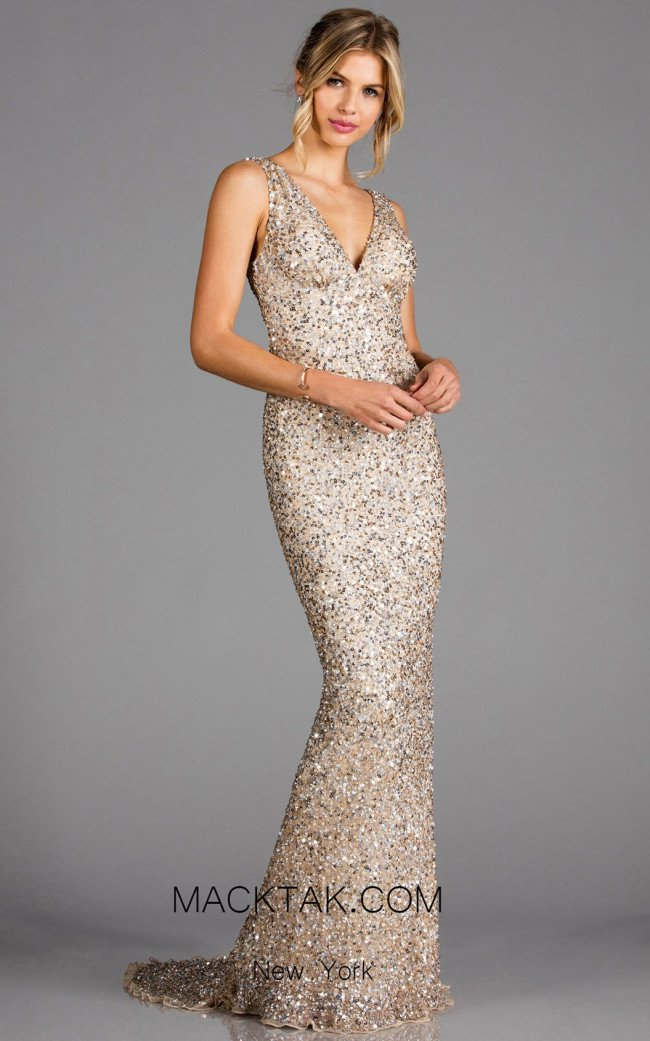 Scala 48883 Champagne Front Evening Dress
