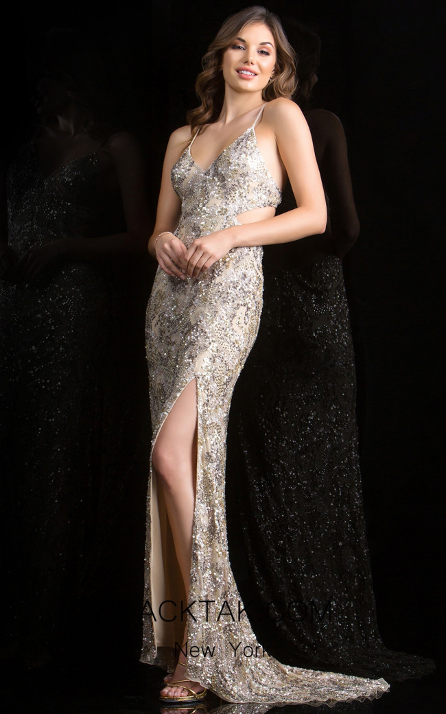 Scalla 48679 Champagne Front Evening Dress