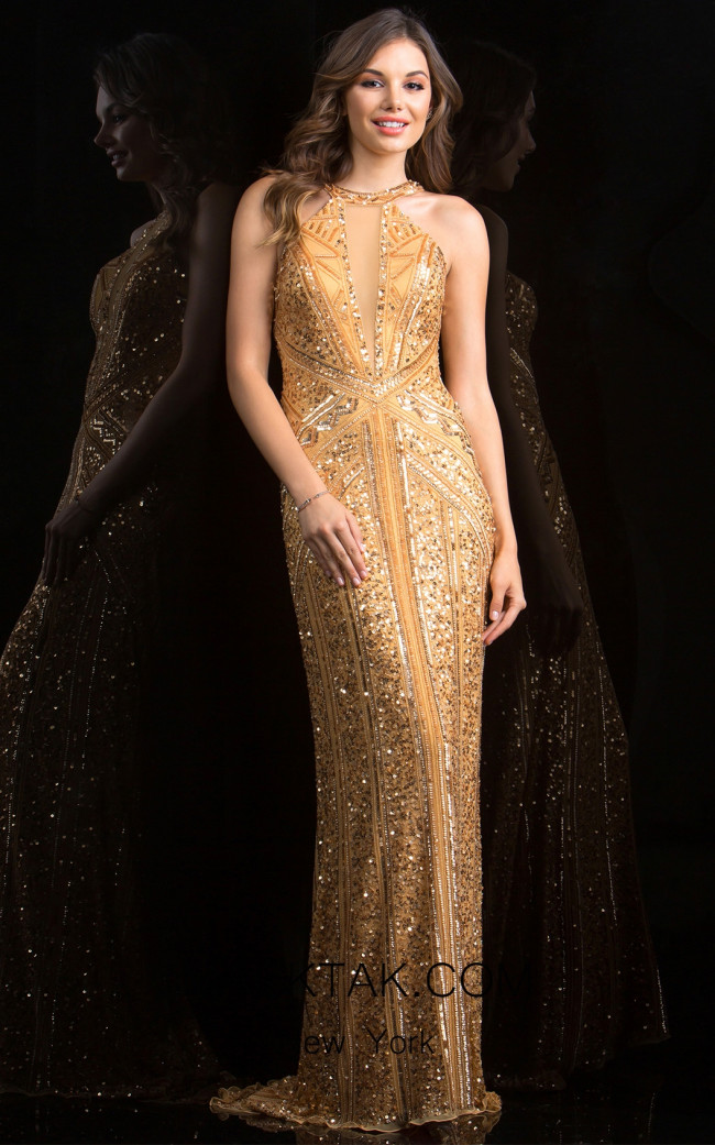Scala 48696 Butterscotch Front Evening Dress
