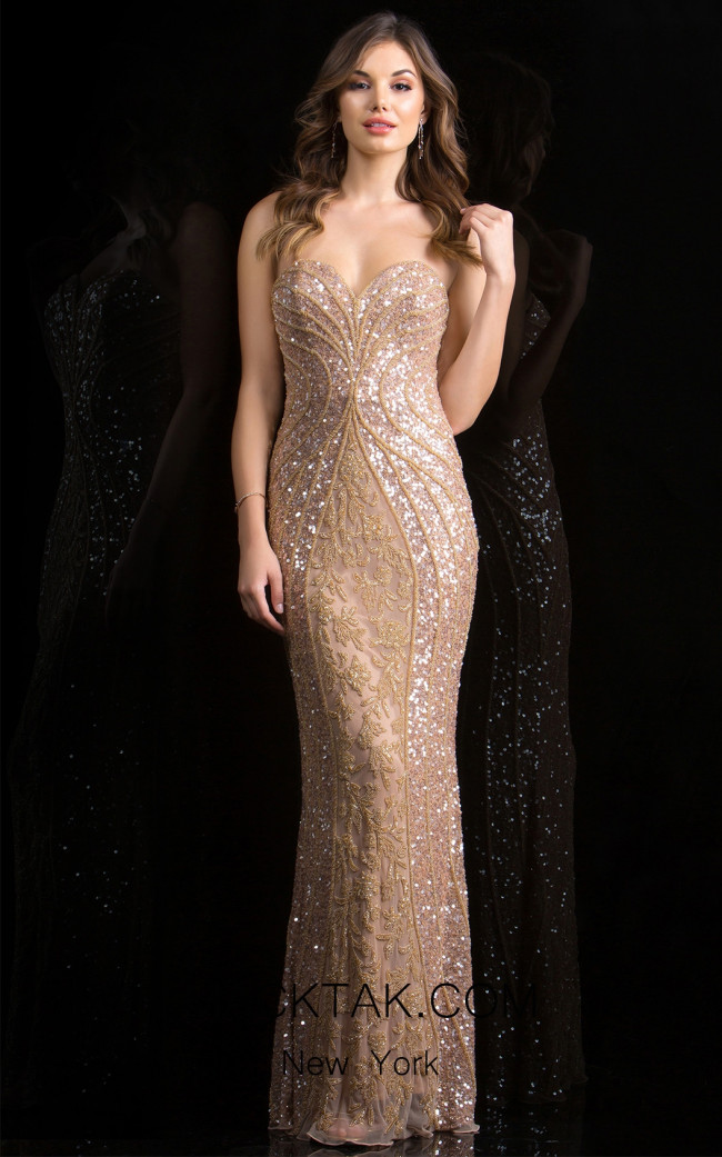 Scala 48707 Almond Front Evening Dress