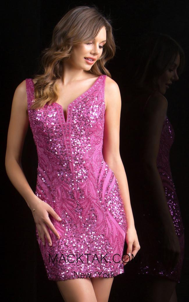 Scala 48737 Raspberry Front Evening Dress