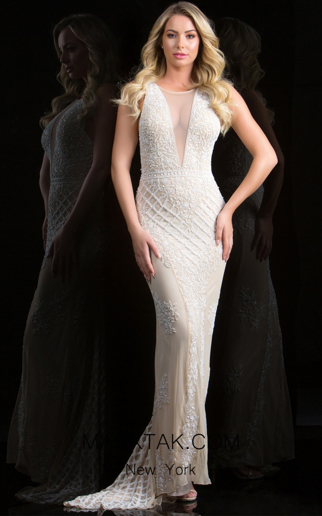 Scala 48787 Champagne Front Evening Dress