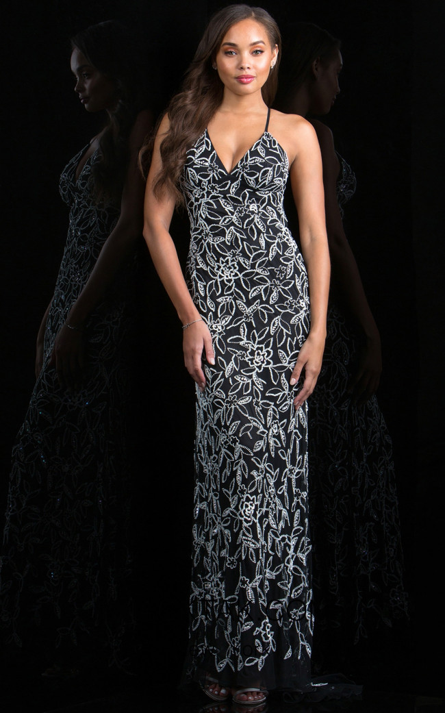 Scala 48796 Black White Front Evening Dress