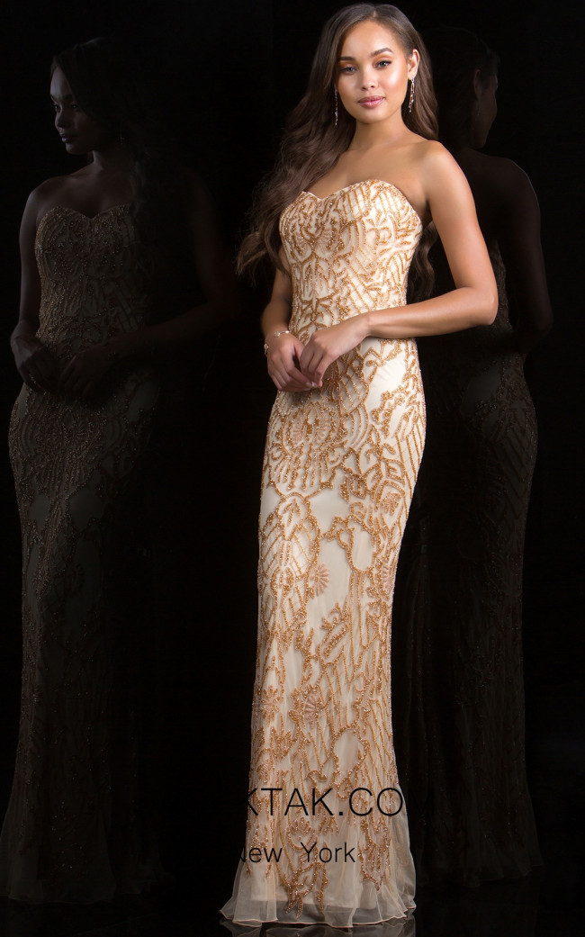 Scala 48797 Sand Front Evening Dress