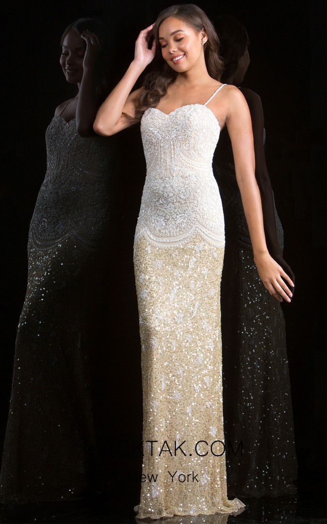 Scala 48800 Champagne Front Evening Dress