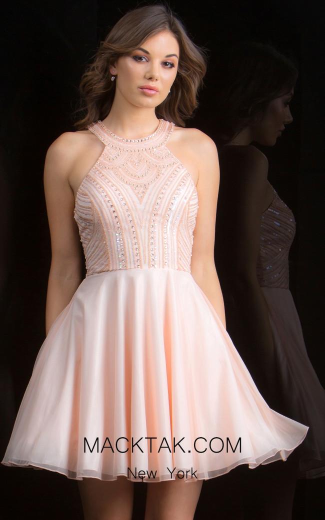 Scala 48813 Blush Front Evening Dress
