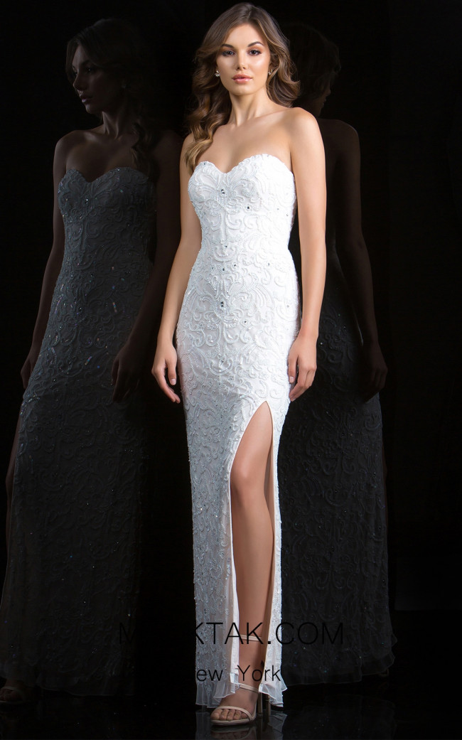 Scala 48816 Ivory Front Evening Dress