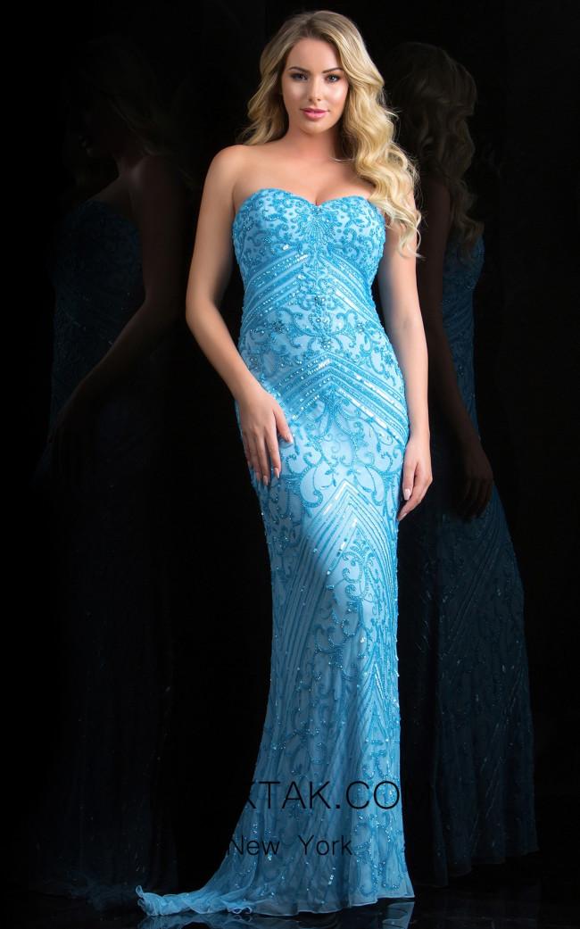 Scala 48819 Sky Front Evening Dress