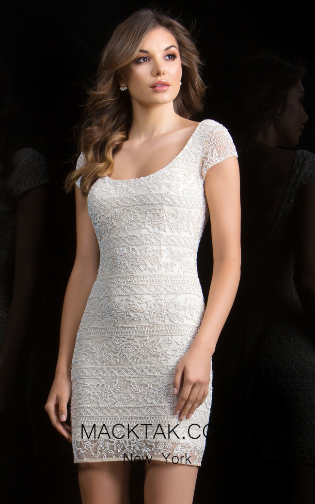 Scala 48825 Champagne Front Evening Dress