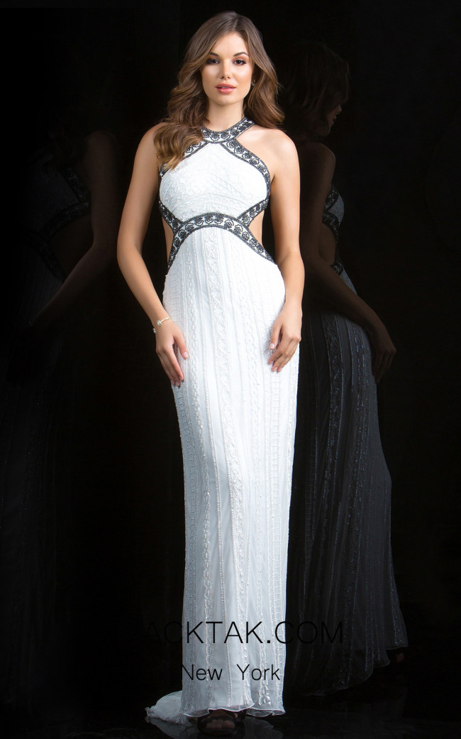 Scala 48826 Ivory Black Front Evening Dress