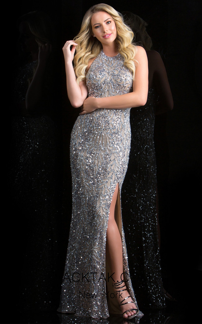 Scala 48831 Lead Silver Front Evening Dress