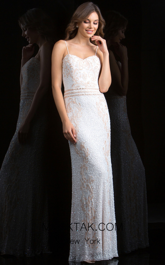 Scala 48835 Ivory Blush Front Evening Dress
