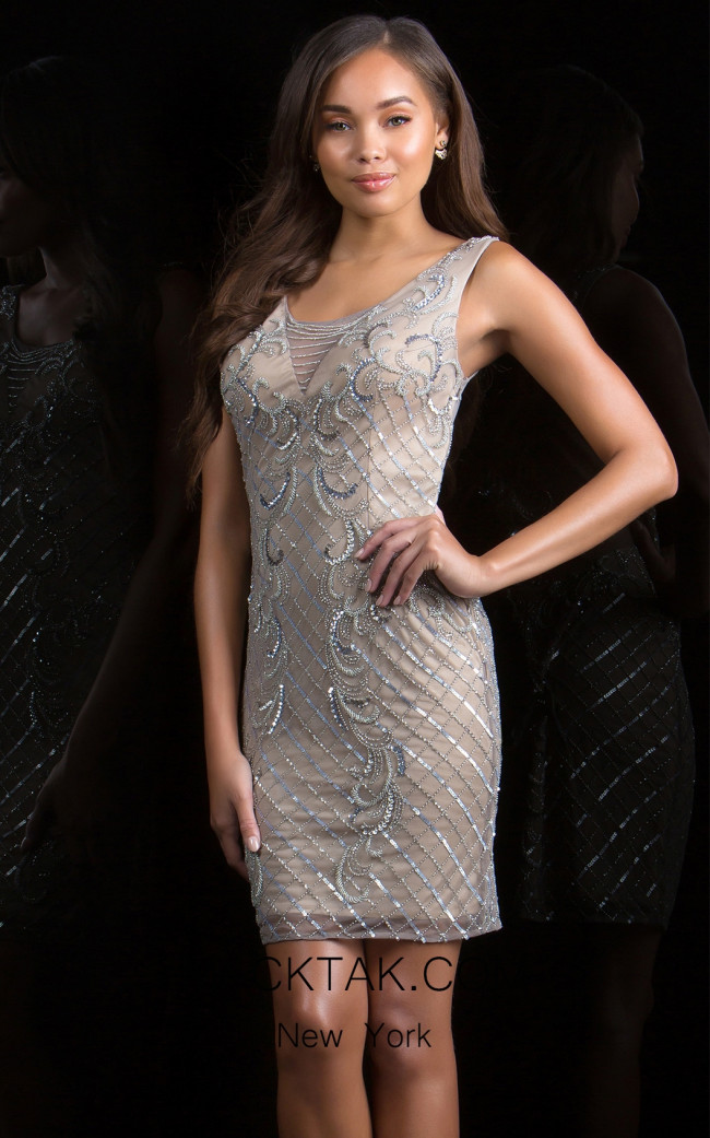 Scala 48847 Lead Silver Front Evening Dress