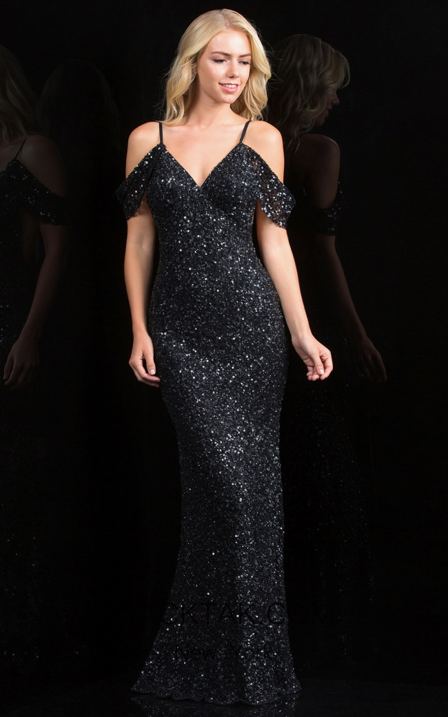 Scala 48860 Black Front Evening Dress