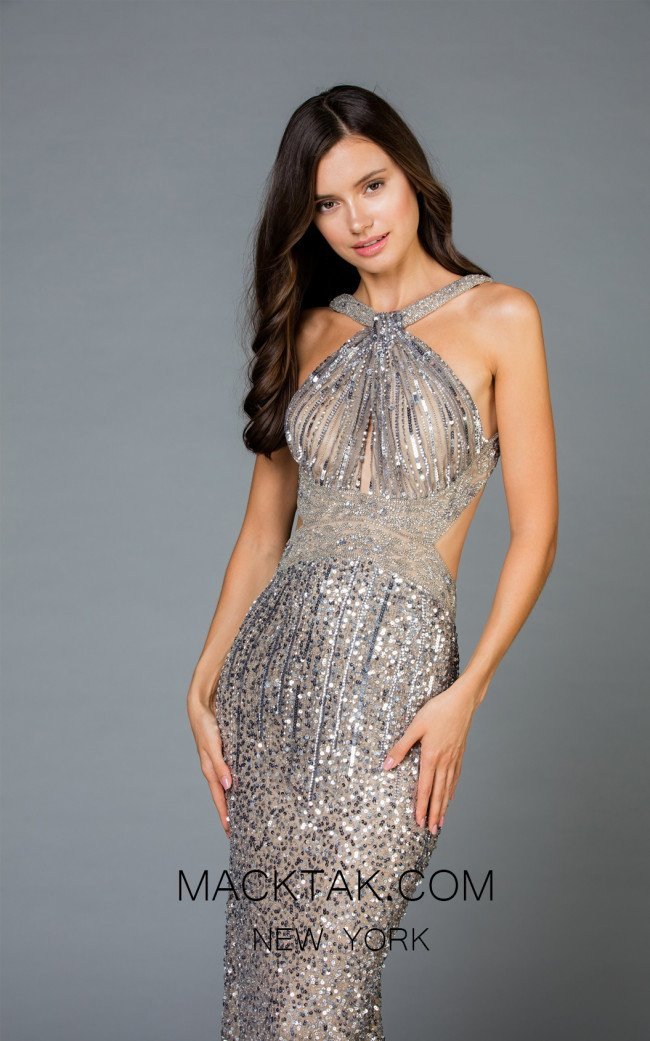 Scala 48944 Lead Silver Front Evening Dress