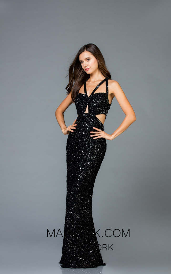 Scala 48946 Black Front Evening Dress