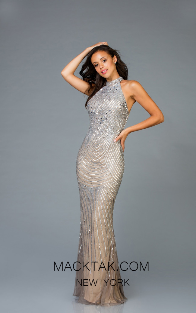 Scala 48948 Lead Silver Front Evening Dress
