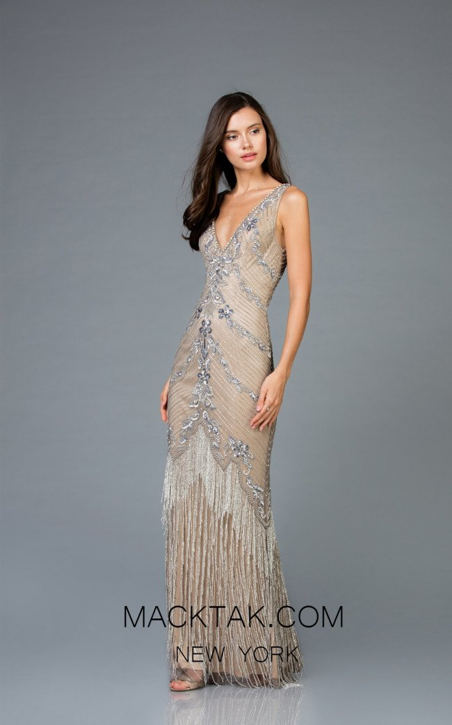 Scala 48951 Lead Silver Front Evening Dress