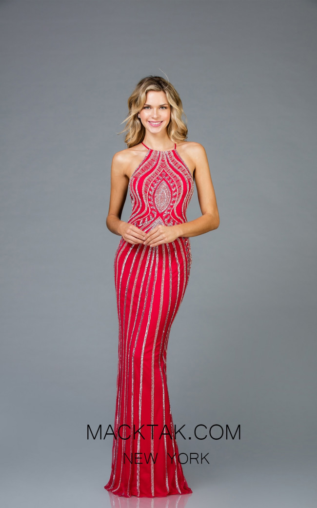 Scala 48956 Red Silver Front Evening Dress