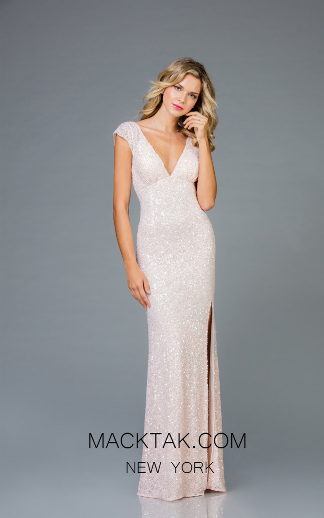 Scala 48958 Blush Front Evening Dress