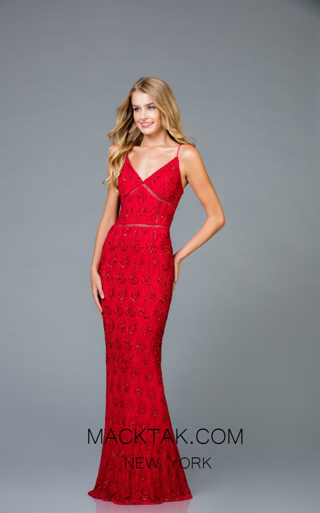 Scala 48960 Red Front Evening Dress