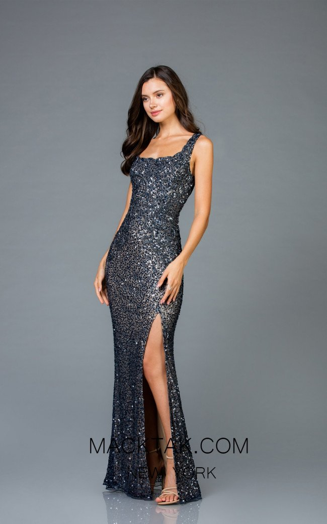 Scala 48961 Navy Nude Front Evening Dress
