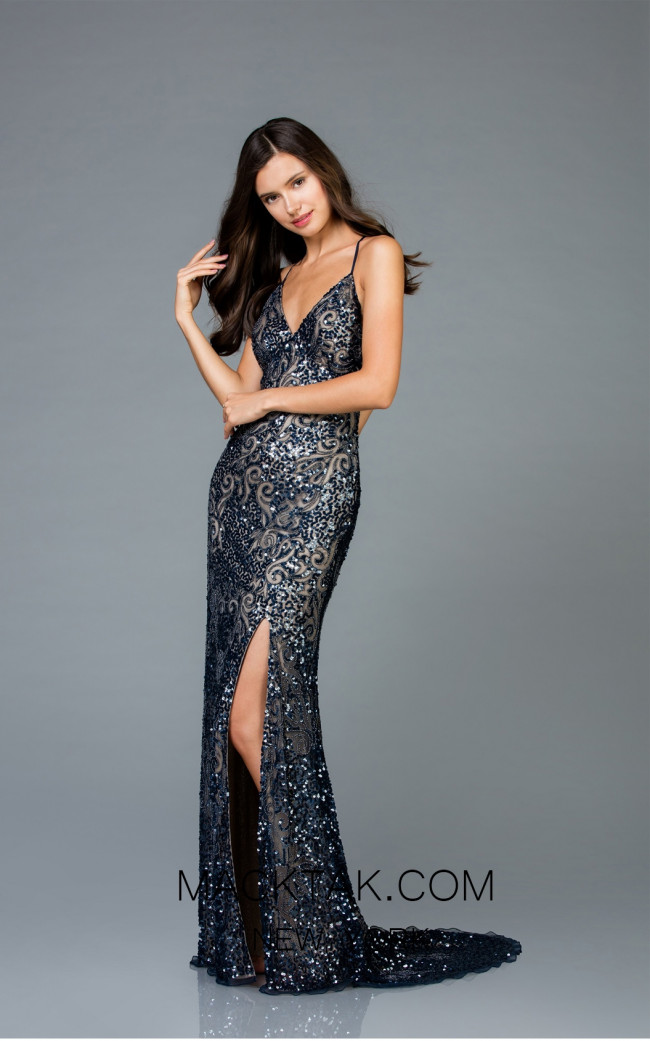 Scala 48977 Navy Nude Front Evening Dress
