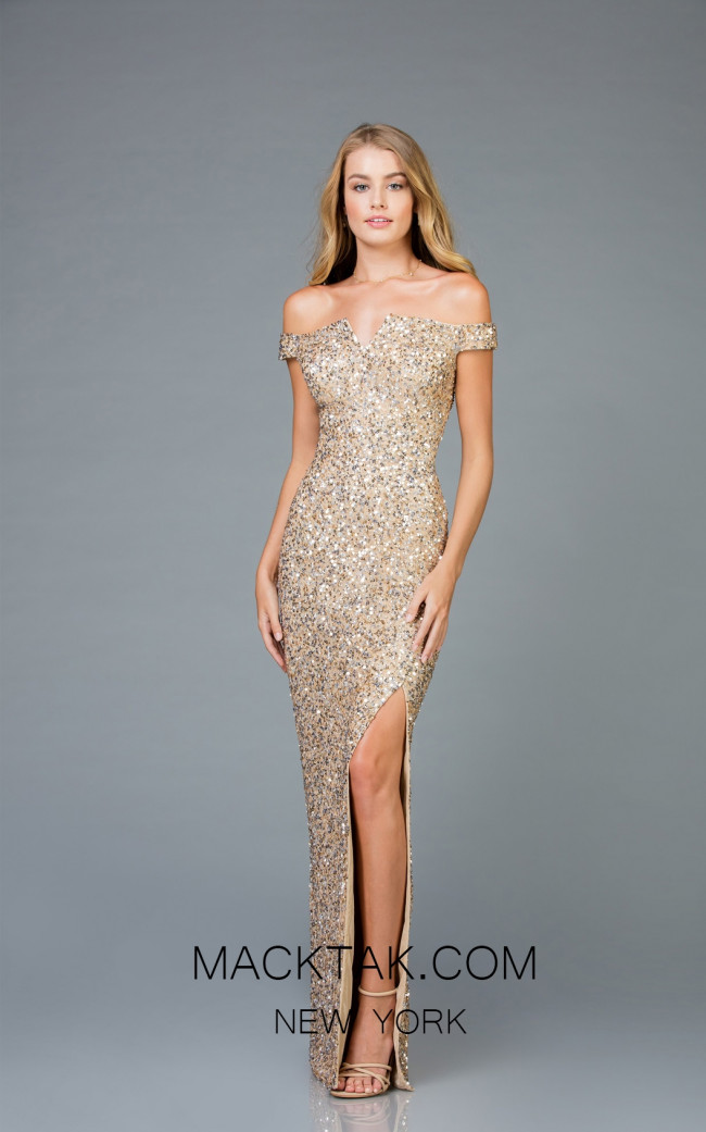 Scala 48985 Champagne Front Evening Dress