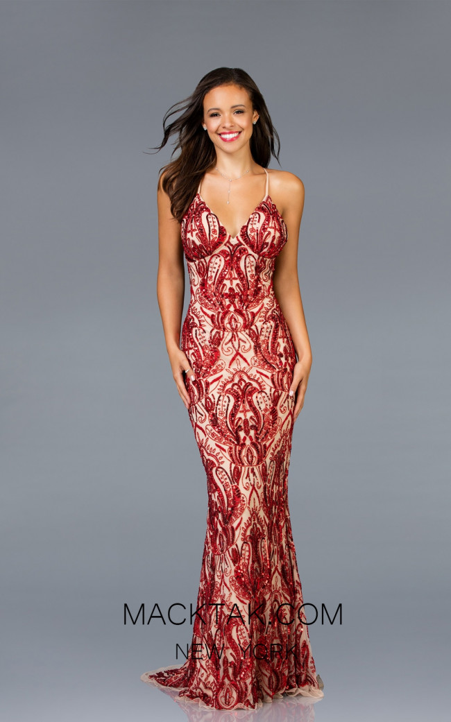 Scala 48710 Mink Red Front Evening Dress