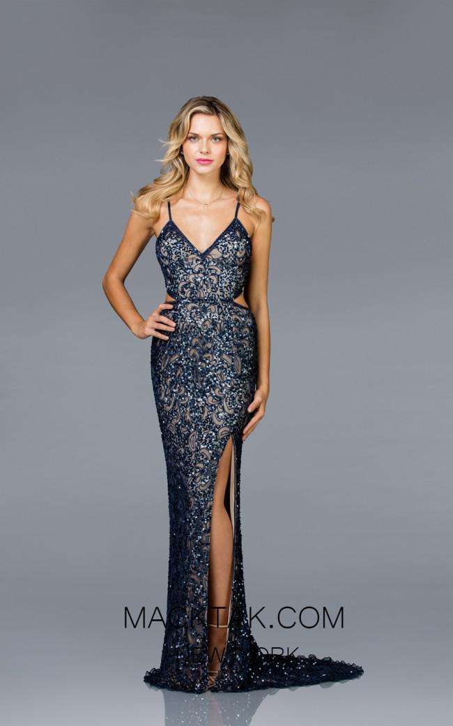 Scala 48930 Navy Nude Front Evening Dress