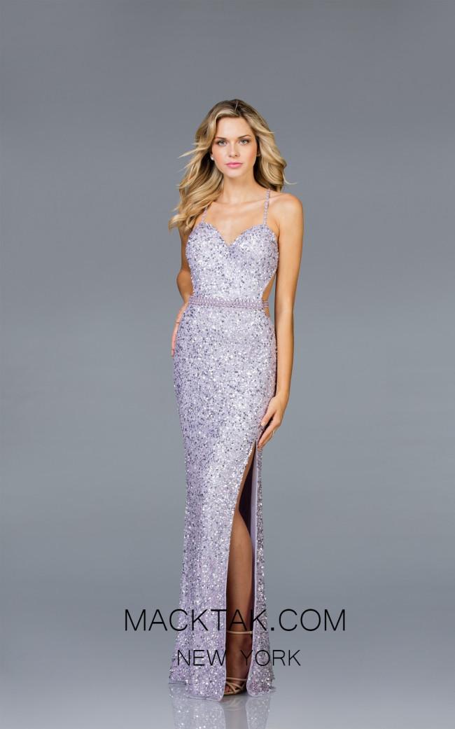 Scala 48931 Lavendar Front Evening Dress