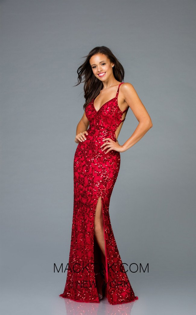 Scala 48932 Red Front Evening Dress