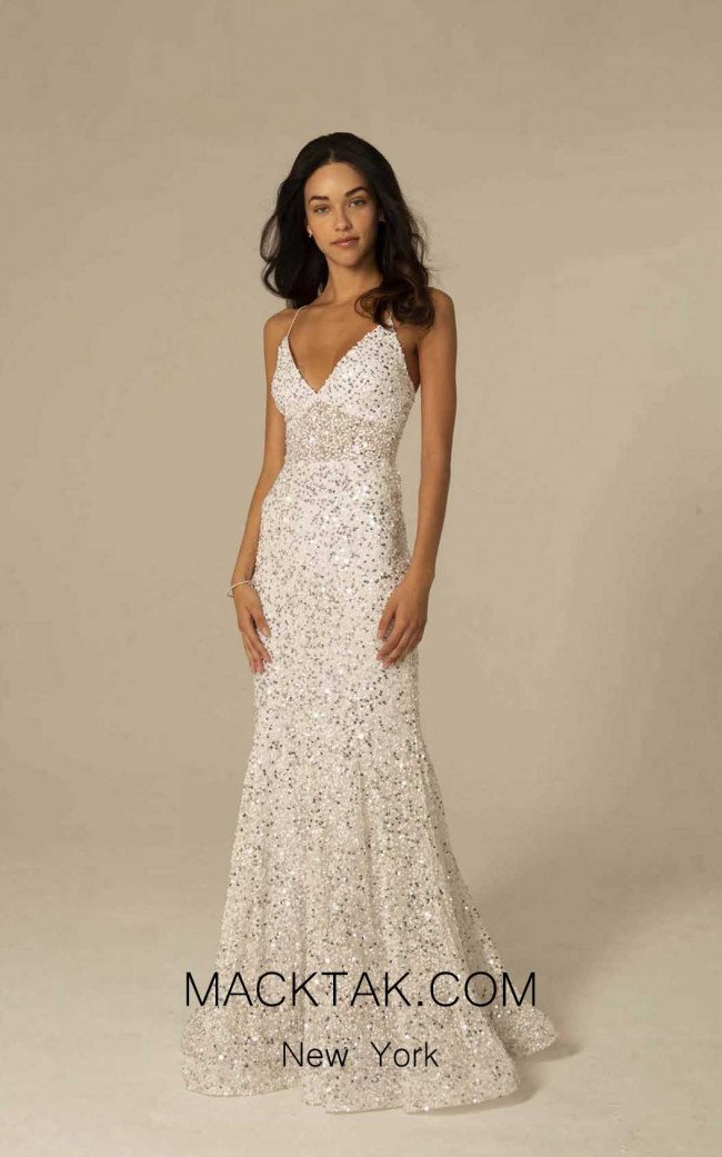 Scala 60080 Ivory Silver Front Dress