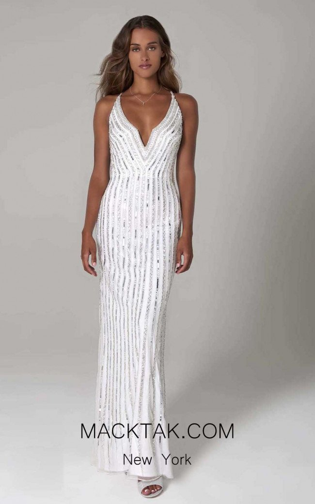 Scala 60102 Ivory Silver Front Dress