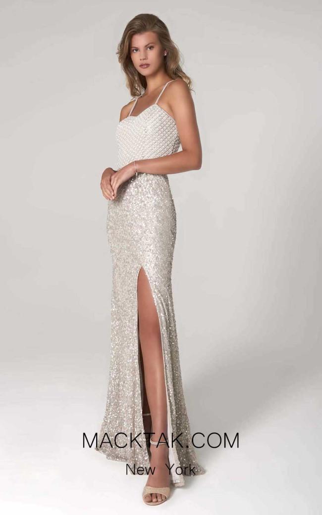 Scala 60125 Light Gray Pearl Front Dress