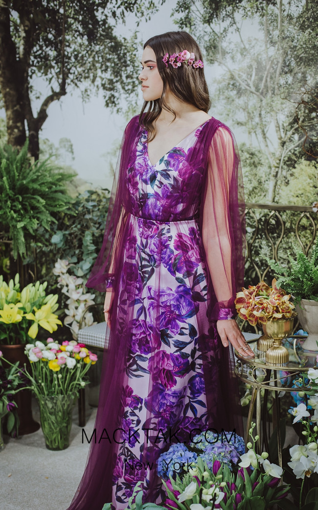 Sinestezic 7838 Print Front Evening Dress