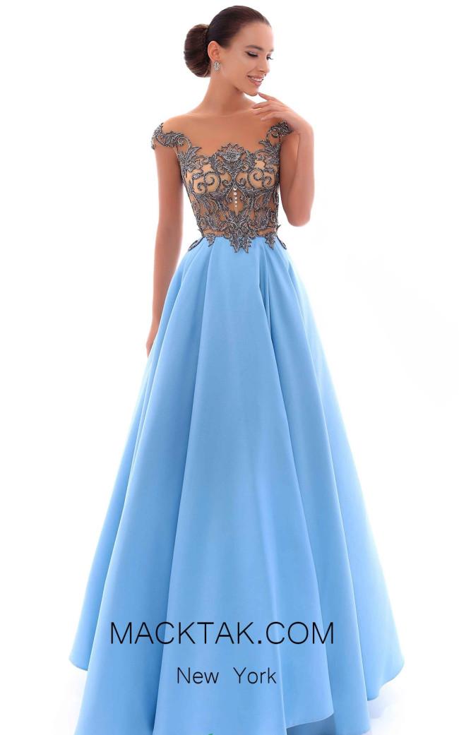 Tarik Ediz 93411 Dirty Blue Front Evening Dress